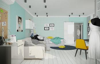 Светлая комната в бирюзовом цвете