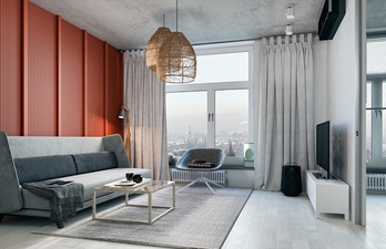 Гостиная с красной стеной и большим окном