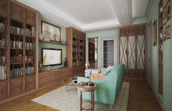 Красивая гостиная с книжными шкафами