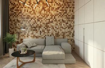 Светлая гостиная с интересным дизайном