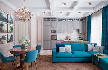 Красивая гостиная с необычным потолком