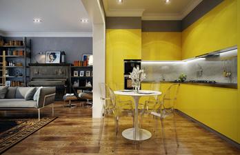 Желтая кухня с подсветкой фартука
