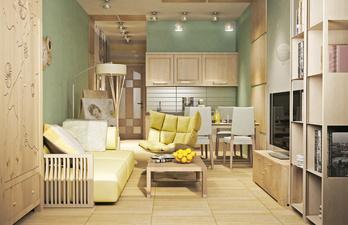 Комната в зелёном цвете с диваном