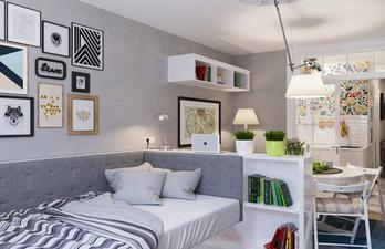 Серая комната с белой мебелью