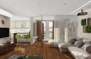 Светлая комната с телевизором и диваном