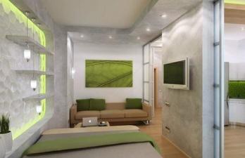 Комната с диваном и телевизором
