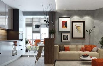 Кухня с большим диваном и картинами