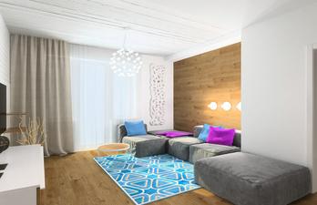 Светлая гостиная с красивой люстрой