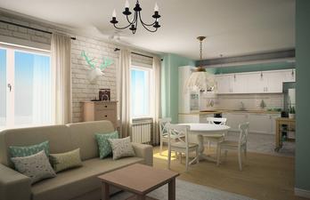 Светлая гостиная с обеденной зоной