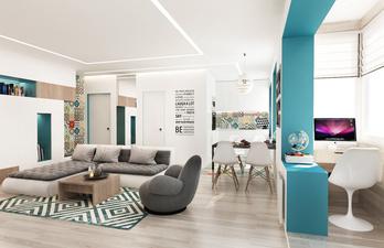 Светлая комната с большим диваном