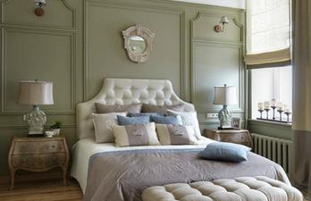 Спальня в зелёном цвете с кроватью