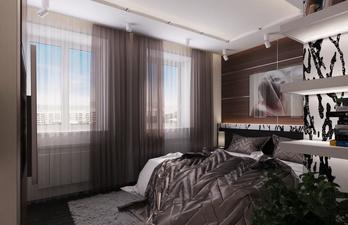Стильная спальня с большой кроватью
