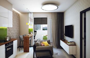 Светлая кухня с диваном и телевизором