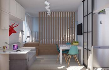 Комната с гостевой, обеденной и спальной зонами