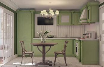 Светлая кухня с телевизором