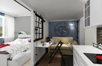 Гостевая зона с диваном и интересными часами