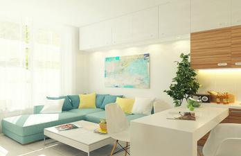 Светлая комната с мягким диваном