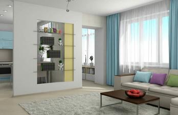 Гостиная с белым потолком и окном