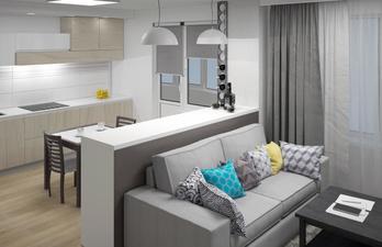 Гостиная и кухня в серых тонах