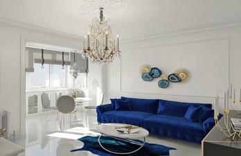 Красивая гостиная с большим диваном и обеденной зоной
