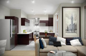 Светлая кухня с гостиной с диваном