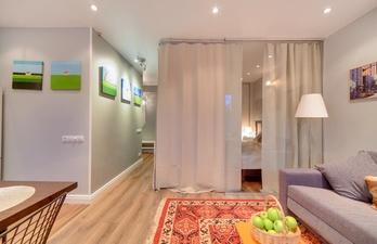 Комната со спальной зоной за шторой