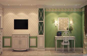Бело-зелёная комната с тумбой и телевизором