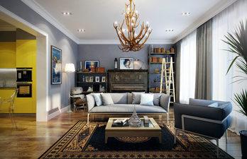 Красивая гостиная с большими окнами