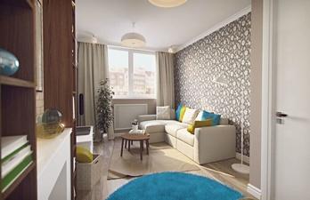 Бежевая гостиная с белым потолком