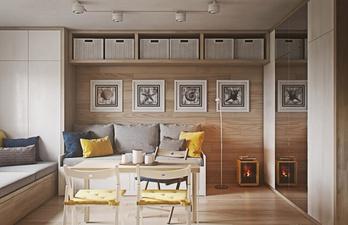 Комната с диванами и обеденным столом
