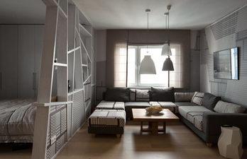 Гостиная в серых тонах с диваном и окном