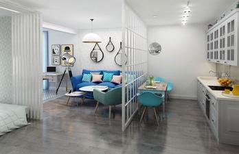 Светлая гостиная с голубым диваном