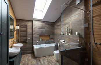 Тёмная ванная в современном дизайне