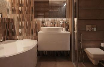 Тёмная ванная с угловой ванной