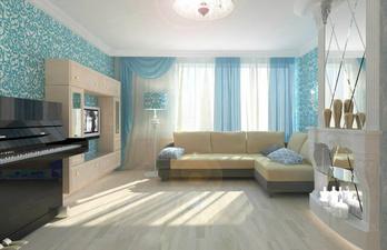 Светлая гостиная с пианино и зеркальным камином