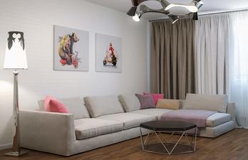 Угловой диван в гостиной и журнальный столик