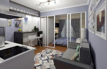 Светлая гостиная совмещённая с кухней