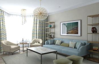 Светлая гостиная с большим окном