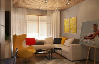 Светлая гостиная с большим диваном и креслом