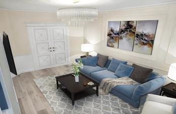 Светлая гостиная с синим диваном и картиной