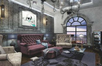 Тёмно-серая гостиная с мягким диваном