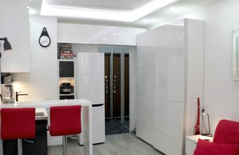 Светлая комната с кухней и шкафом