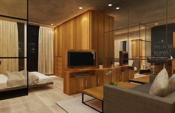 Коричневая комната со спальным местом