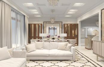 Светлая гостиная с удобными диванами