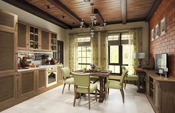 Уютная кухня с деревянным потолком