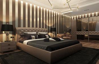 Спальня в тёмных тонах с красивой мебелью