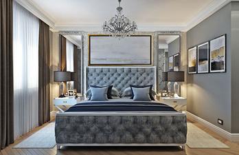 Светло-серая спальня с зеркалми