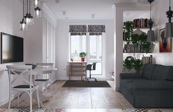 Светлая комната с балконом