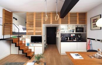 Нетипичный дизайн. Небольшая кухня