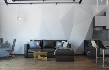 Гостиная в светлых тонах с диваном